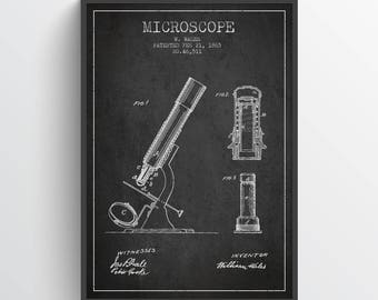 1865 Microscope Patent Print, Medical Patent, Microscope Print, Wall Art, Home Decor, Gift Idea, ME32P