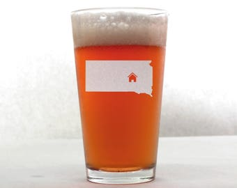 South Dakota Beer Glass - State Pint Glass - Pint Glass - Personalized Pint Glass - Etched Pint Glass - Groomsmen Pint Glass