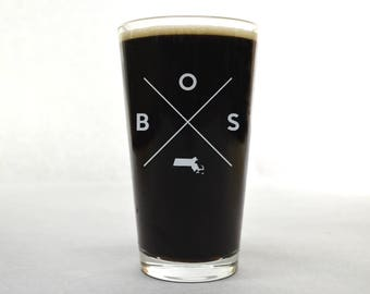 Boston Pint Glass | Boston Glass - Beer Glass - Pint Glass - Beer Glasses - Pint Glasses - Beer Mug - BOS - Gift for Dad