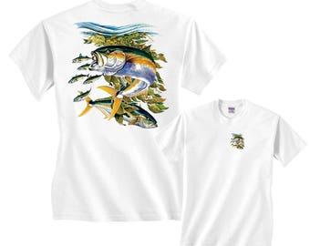 Yellowtail Albacore Tuna Underwater Scene Fishing T-Shirt Clearance
