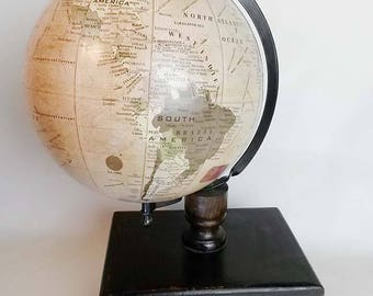 Vintage World Globe and Wood Drawer Storage