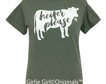 Girlie Girl Originals Heifer Please Heather Military Green Short Sleeve T-Shirt