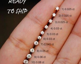 Diamond Stud. Flatback Screw Diamond Nose Pin. 14K Gold Nostril Jewelry. Ear, Cartilage, Helix, Tragus Stud. READY TO SHIP