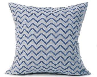 Geometric Cushion- Navy Blue Cushion- Zig Navy- Linen Cushion- Navy and Beige- Printed Linen- Linen Pillow- Cushion Cover- UK made- Blue