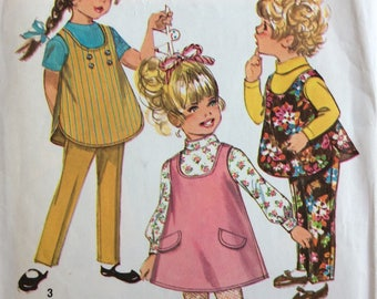 Simplicity 8303 girls jumper or top & pants size 1 vintage 1960's sewing pattern