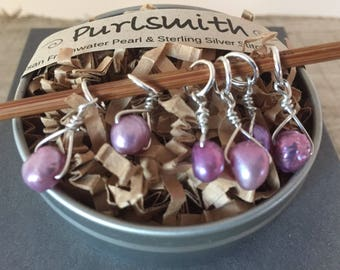 Petite Purple Freshwater Pearl & Sterling Silver Stitch Markers for Knitting,Set of 6,Knitting Notions, Gift for Knitter