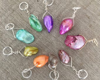Individual BAROQUE Pearl Stitch Marker, Single Color, Any quantity - Your Choice of Color & Size