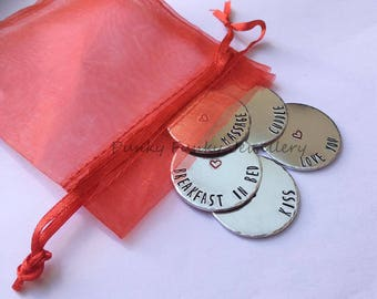 Love tokens - Choose wording - Valentines Day gift - Gift for her - gift for him - cute valentines day gift - anniversary gift - Birthday