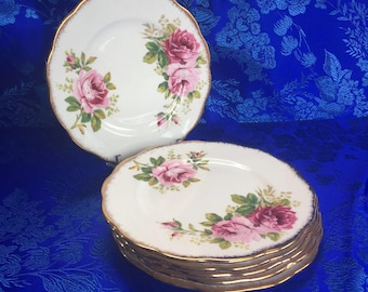 "1 of 3 Royal Albert American Beauty English Bone China 6"" Bread Plates"