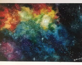 Galaxy Space Watercolor Painting Print on heavy paper- 7x10 in