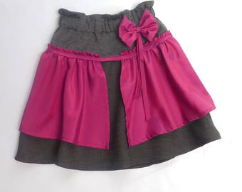 Festive skirt for girl 4-5 years, jersey and silk Burgundy apron
