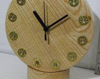 Clock, wood clock, gun cartridge, oak burr, shotgun cartridge, hunting, shooting, wall clock, mantel clock
