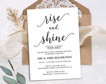 wedding brunch invitation printable wedding brunch card simple and modern instant download - Wedding Invitations And Save The Dates