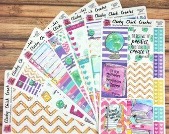 SCHOOL DAYS KIT! Planner stickers, back-to-school, books, globe, school supplies, watercolor, Inkwell, eclp, Happy Planner {#K1714}