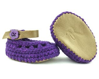 Baby Girl Sandals, Purple Leather Infant Anklets, Low-Rise Crochet Booties, Unique Newborn Shoes, Grippy New Walkers, Handcrafted Soft Soles