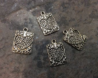 Rustic Heart Tag Charms Package of 4 antique silver finish charms great for Boho necklaces and jewelry