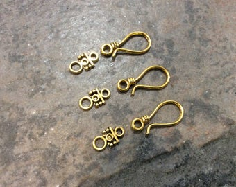 Antique Gold Hook Clasps Bali style clasps pack of 3 clasps Rustic Antique Gold Jewelry Findings