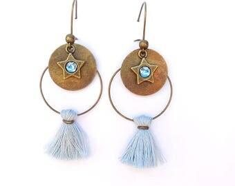 Star hoop earrings light blue tassel and charm