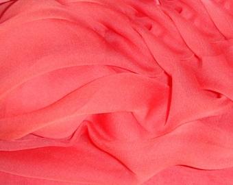 Pure Silk Chiffon Coral  90 cm length fabric 138 cm wide