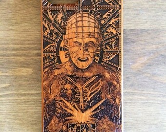 Pinhead Phone Case, Real Wood IPhone Case, 7 Plus 8 Plus Case, 7 edge Samsung Galaxy Case, Hellraiser Movie, Iphone 5S Case, 6S Plus Case