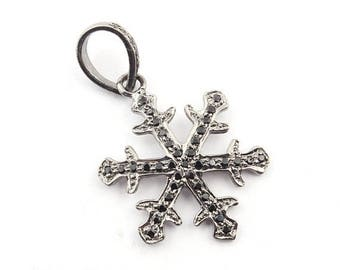 XMAS In July 1 PC Black Spinel Snow Flake 925 Sterling Silver Charm Pendant 27x23mm pt094