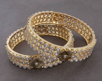 VALENTINE DAY SALE 2 Pcs 24 Ct Gold Plated Cubic Zirconia Bangle - Best Quality Cz Gold Plated Bangle Size:2.25 Cz111