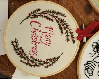 Merry Christmas embroidery hoop wreath decoration