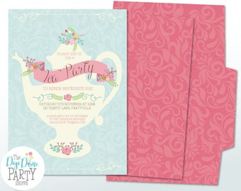 Tea Party Teapot Printable Invitation in Pink & Mint, Instant Download