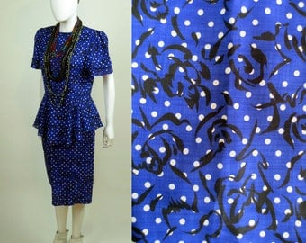 80s Dynasty Polka dot printed lightweight silk linen midi length peplum dress