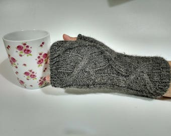 Knitting Pattern for Fingerless Mitts with Cable Pattern