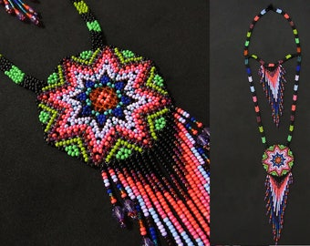 Boho Southwestern Starburst Necklace, Native American Beaded Necklace, Seed Bead Necklace, American Indian Necklace, Medallion Necklace