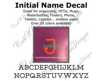 Initial Monogram Name Decal, Initial Monogram Name Sticker, Name Decal, Name Sticker, Initial Decal, Initial Sticker, Monogram Sticker Decal