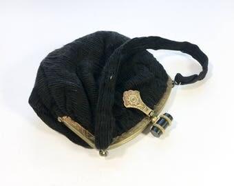 1900s Black Faille Evening Bag | Black Silk Handbag