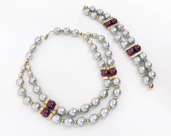 60s Gray Pearl Jewelry Set   Faux Pearl Jewelry Set   Demi Parure   Napier