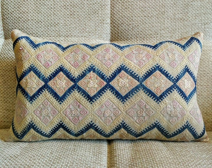Vintage Chinese Wedding Blanket Pillow Cover / Boho Pink, Tan and Indigo Vintage Ethnic Miao Dowry Textile / Handwoven Lumbar Cushion Cover