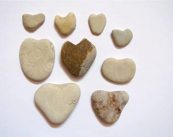Heart Shaped Stones, 9pcs, Heart Pebbles, Beach Stones, Beach Pebbles, Beach Finds, Stones for Crafts, Stone Hearts