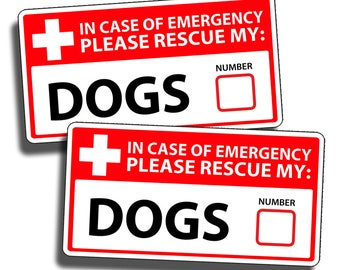 Dog Emergency Pet Rescue Sticker Vinyl Decal 1st First Aid FIRE Safety Safe Puppy