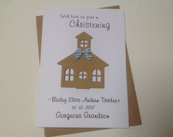 Handmade personalised Christening card- personalised with name and date- Grandson, Godson, Nephew, Son