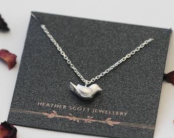 Silver Bird Necklace, silver pendant, bird jewellery, Uk seller