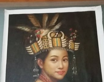 Vintage original oil portrait of an Iban lady, Sarawak, Borneo