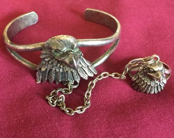 G & S designer Eagle slave bracelet and ring 8 1/2 1989