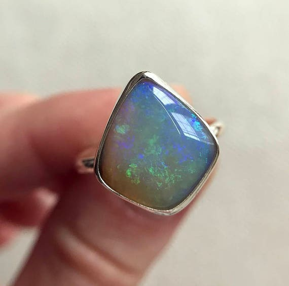 Sterling silver ring with Australian Crystal Pipe Opal SZ 8