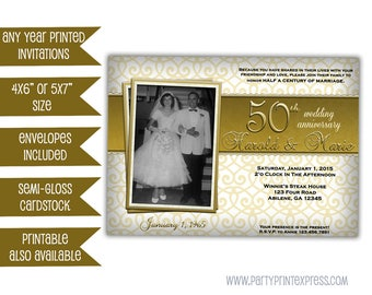 Golden 50th Wedding Anniversary Party Invitations - Photo 50th Wedding Invitation - 50th Wedding Party Ideas - Vow Renewal Wedding Gold