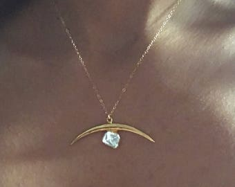 Apophyllite Necklace // Crecent Moon crystal necklace // Gold Crecent Moon Necklace