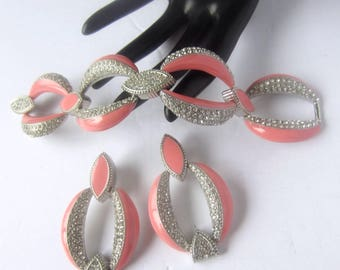 Big, Bold, creamy PINK crystal link Bracelet & Earring set ~lovely, Over-the-Top vintage costume jewelry