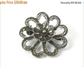 SALE Vintage Sterling Silver Filigree 3D Flower Brooch Pin Scarf Pin