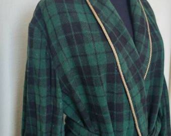 Vintage 50s bath robe house coat wool plaid