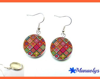 Multicolor patchwork 2534 glass cabochons earrings