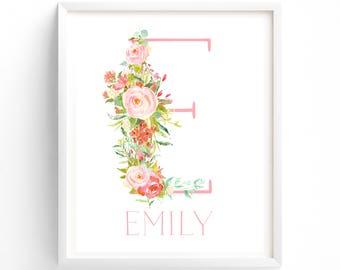Rose Symphony Letter and Name Monogram.  Nursery Monogram, Nursery Printable, Monogram Print