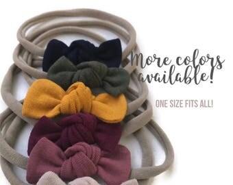 Newborn headband set; Baby bow headbands; nylon bow headbands; nylon headbands; big baby bows; newborn nylon headband; baby knot bow; OS